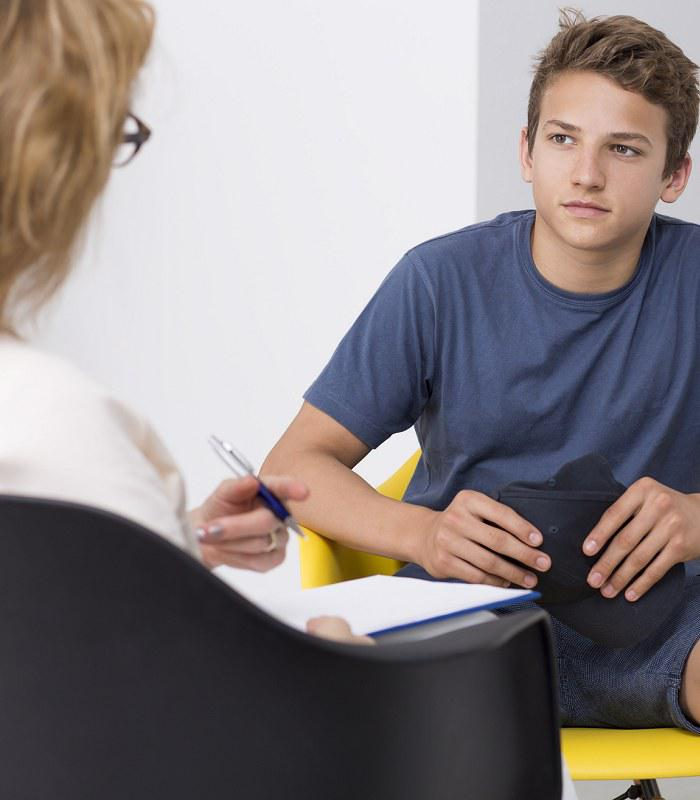 California Teen in Alcohol Therapy Session